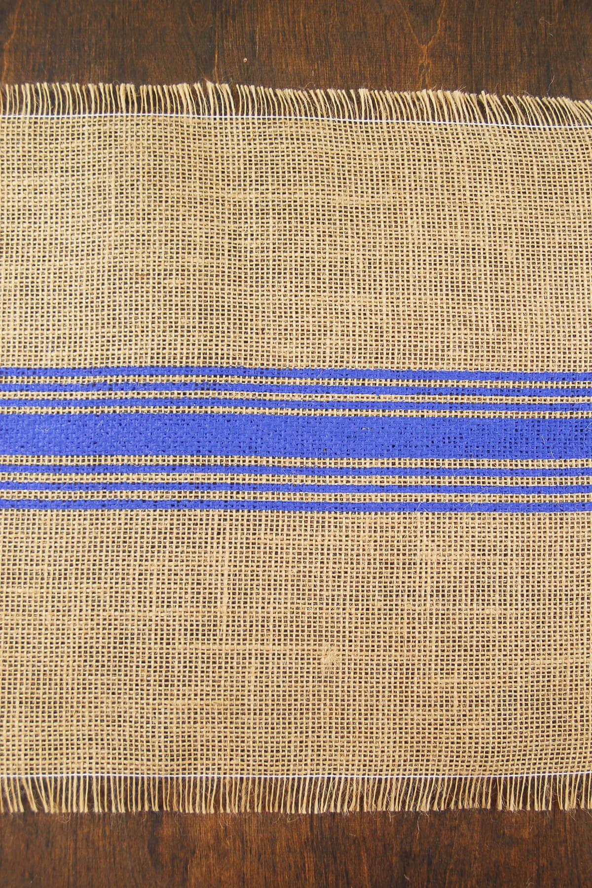 Jute Table Runner Blue Stripe