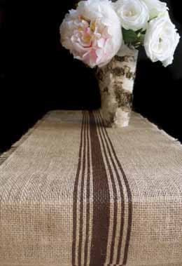 Brown Striped Burlap Runner 12.5 x 9 Feet
