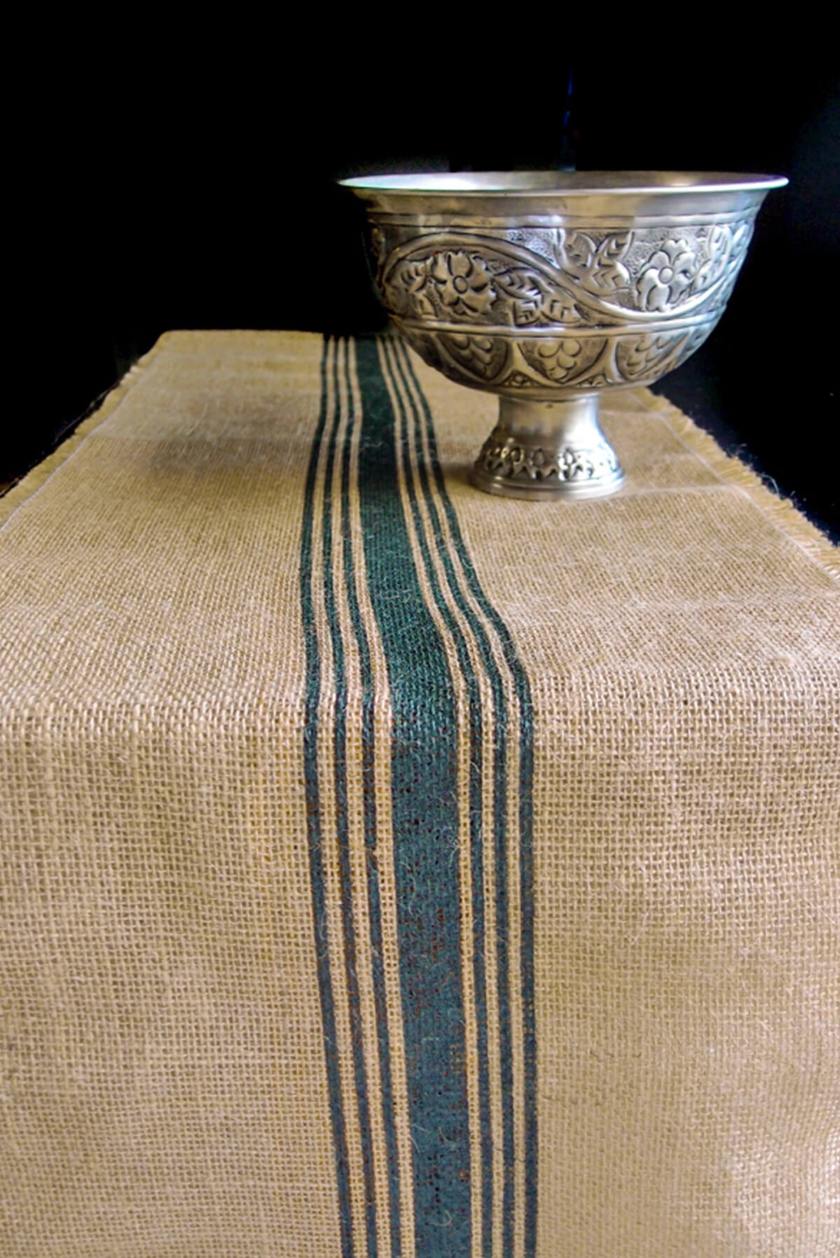 Green Striped Burlap Runner 12 5 X 9 Feet
