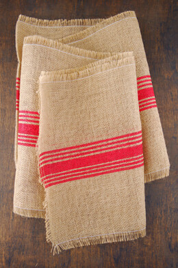Red Striped Burlap Runner 12.5 x 108""
