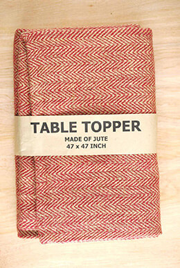 Jute Tablecloth Herringbone Red 47 x 47 Square