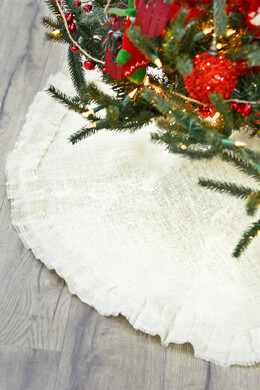Burlap Tree Skirt Ivory 46in