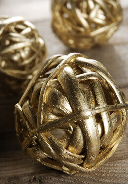 Twig Balls Gold 3in (Pack of 8)