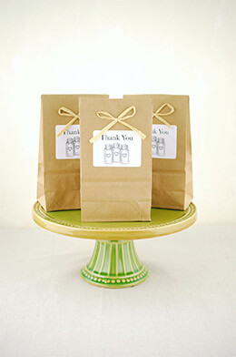 10 Favor Bags, Mason Jars, Thank You Labels