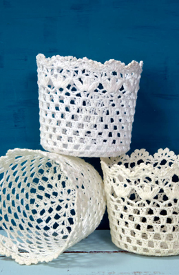 Stiffened Lace Baskets 4.5in