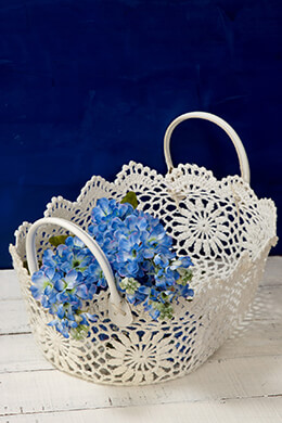 Stiffened Lace Basket with Handles Ivory 5x15