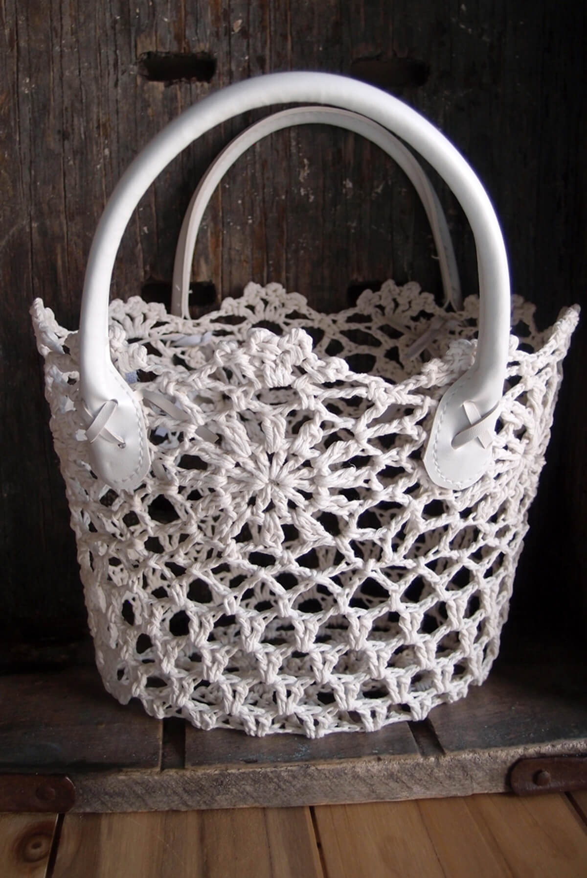 Stiffened Lace White Basket With Handles 10 X 9