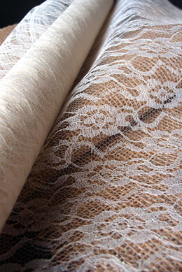 "White Chantilly Lace Table Runner  14"" wide x 10 yards"