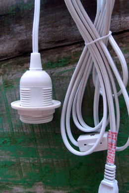 Single Socket White Pendant Light Lamp Cord 11 feet, UL Listed