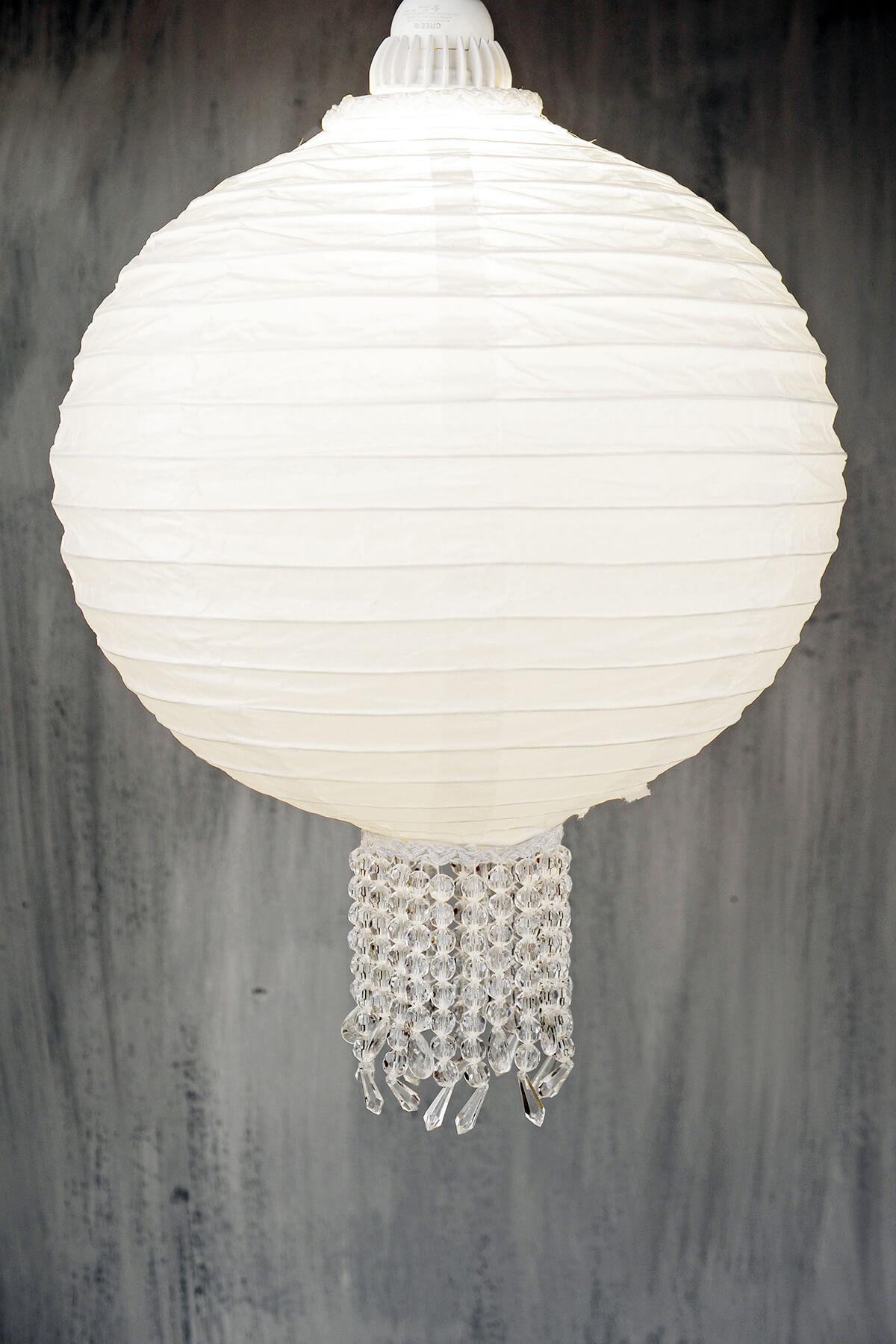 """Crystal 12"""" White Wedding Paper Lanterns"""