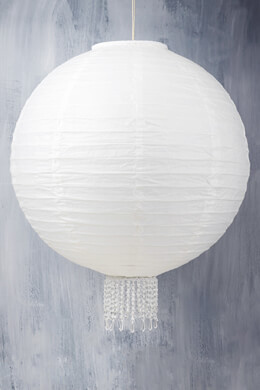 "Crystal 20"" White Wedding Paper Lanterns"