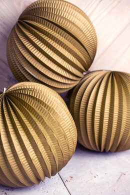 Gold Accordion Paper Lanterns 8.5in (3 pack)