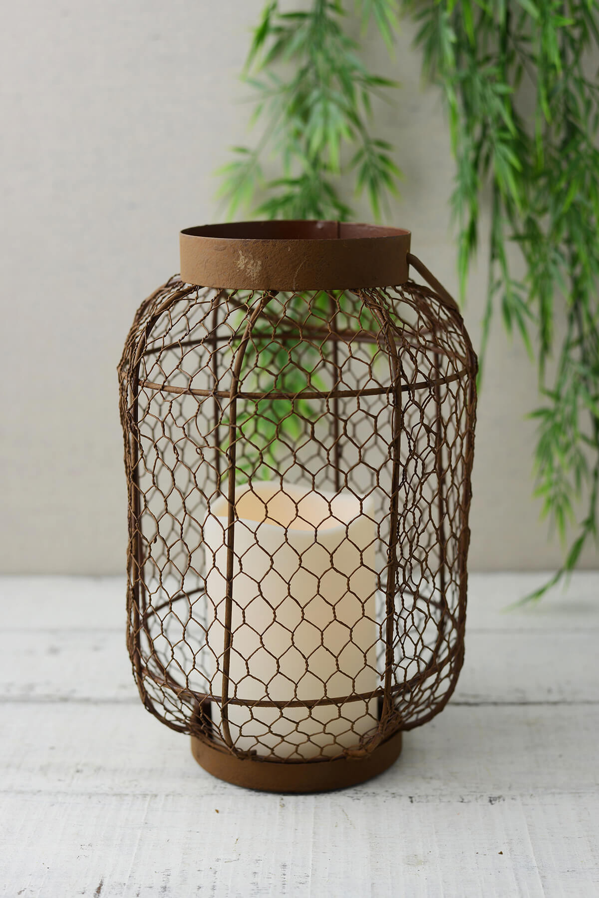 rustic metal lantern w flameless led resin candle light