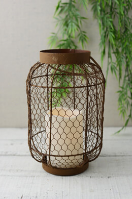 Rustic Metal Lantern w/ Flameless LED Resin Candle Light, Timer, Battery Op.