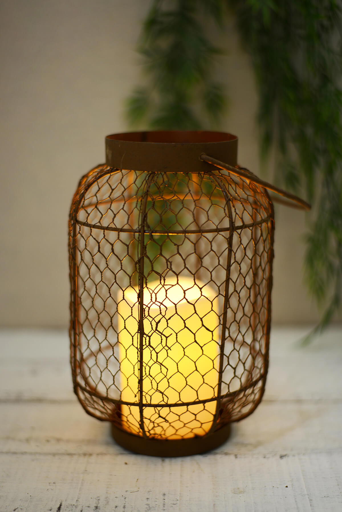 Attractive paper lantern wire frame composition framed art ideas rustic metal lantern w flameless led resin candle light timer greentooth Images