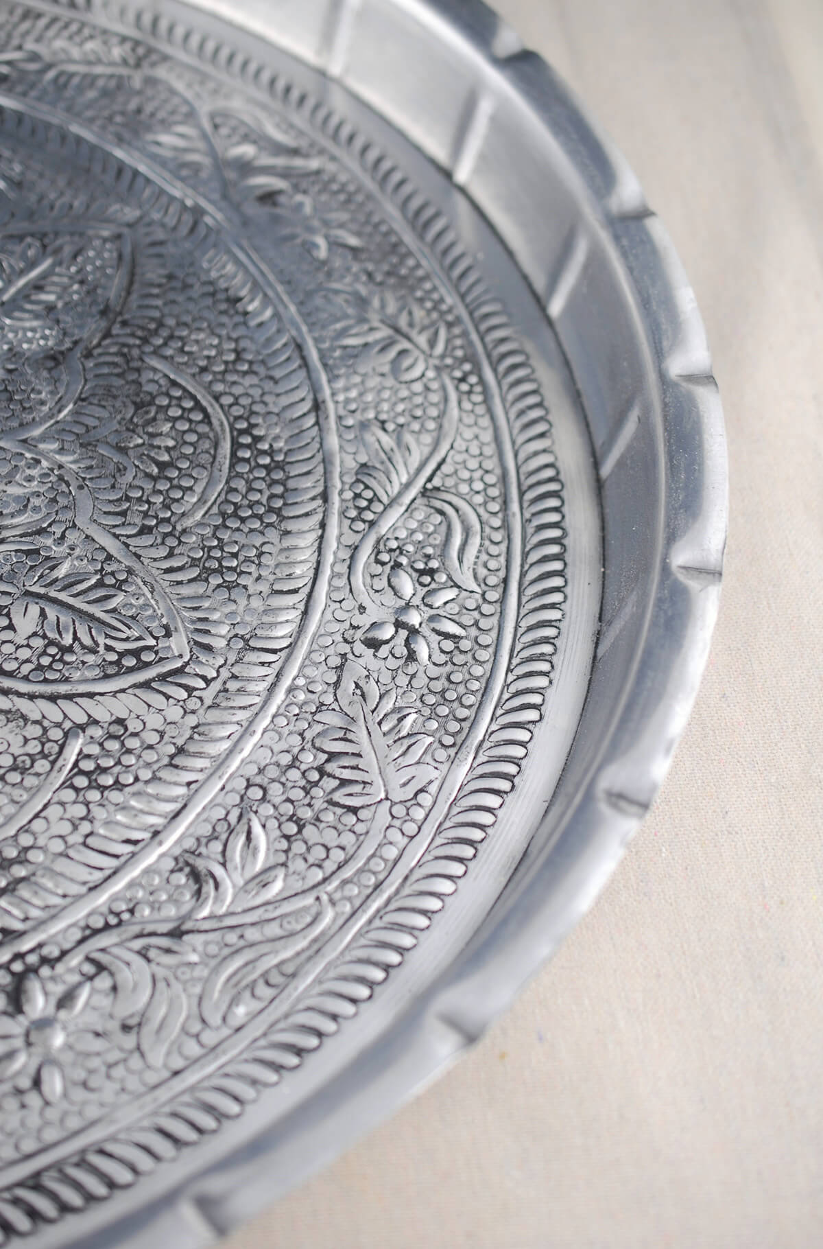 Large Silver Metal Embossed Serving Tray 19.5in
