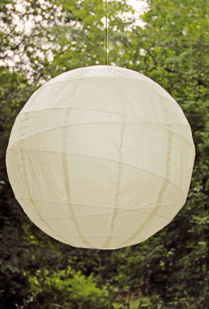 24 Quot Large Paper Lantern Round Bamboo Ribbing Beige