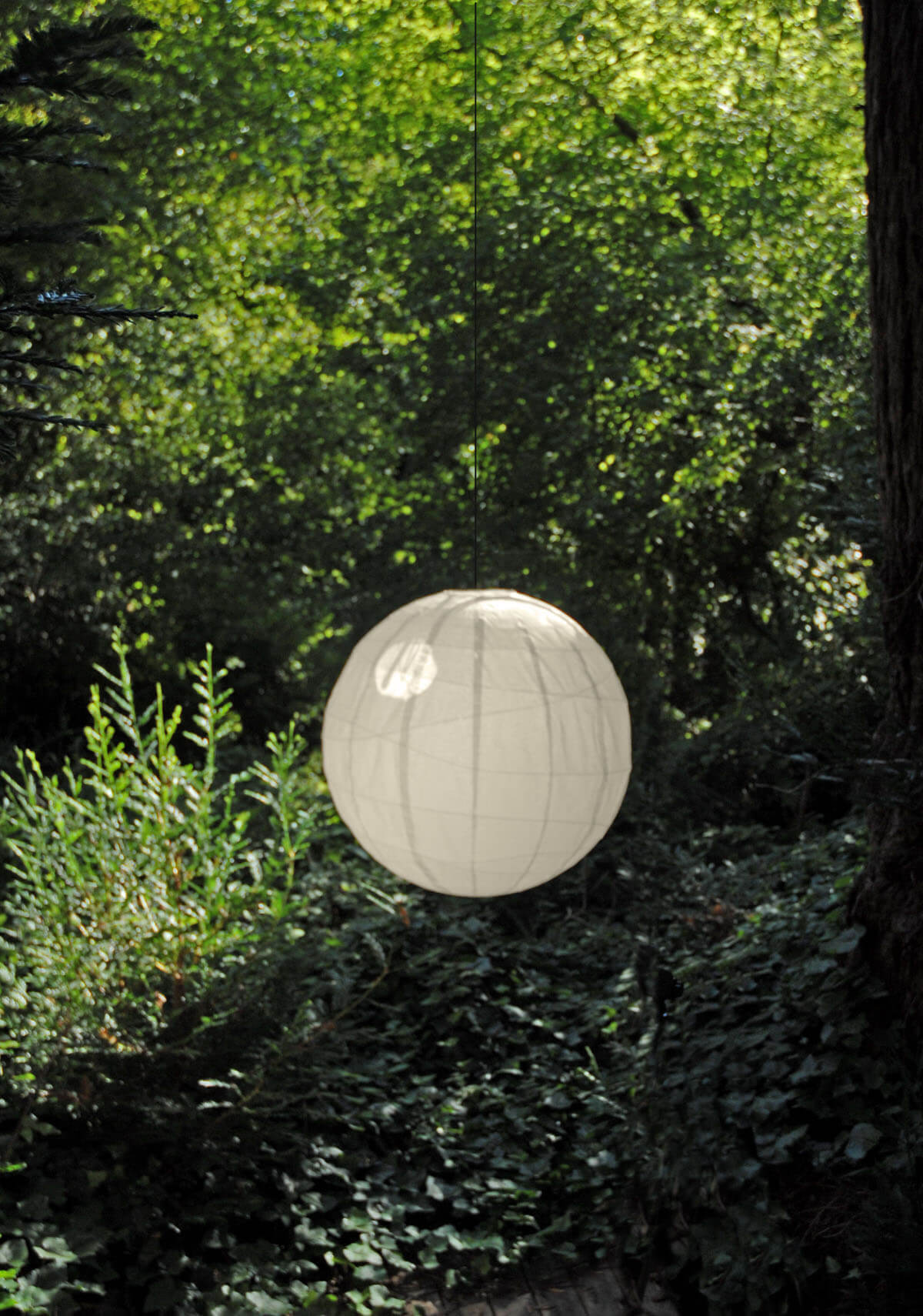 "36"" Beige Bamboo Ribbed Paper Lantern BEIGE"