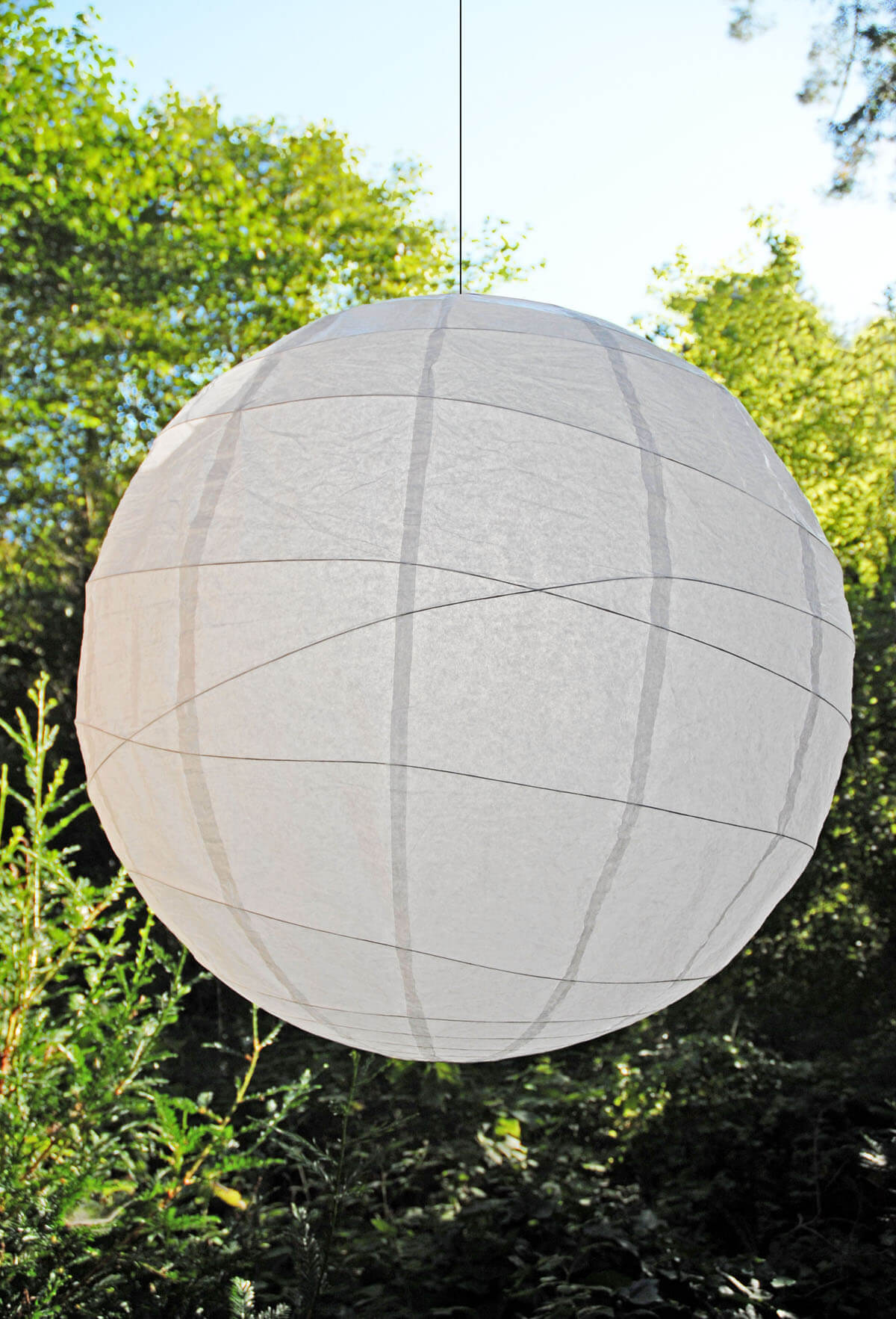 """Extra Large White 36"""" White Bamboo Criss Cross Ribbed Paper Lanterns"""