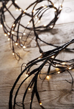 LED Branch Garland Lights Brown with 96 Warm White, 6 Feet, Plug In