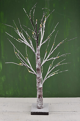 LED Birch Tree 24in, 24 Warm White Lights, Battery Op., Timer