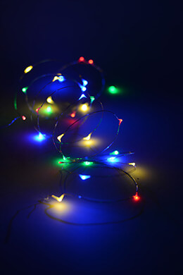 Everlasting Glow Micro LED Light String, Battery Op, 10 Feet 30 CT Multi-color