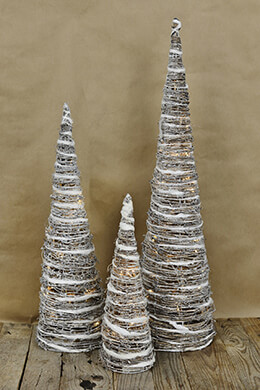 3 LED Lighted Whitewash Grapevine Cone Christmas Trees