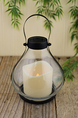 "Gerson Everlasting Glow  Battery Operated Metal and Glass School House Lantern with 3 by 3"" LED Resin Candle, 5.25 by 5.91"", Black"