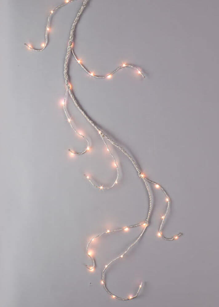 Lighted Garland 6ft 60 Led Lights Battery Operated Silver