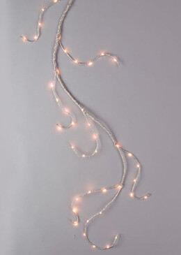 Lighted Garland 6FT  60   LED Lights, Battery Operated Silver Wrapped