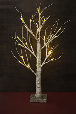 Gold Glitter Wedding Tree with Lights 24in, Battery Op.