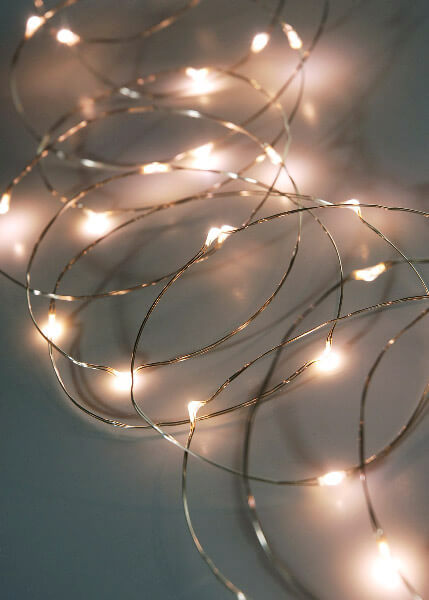 LED Fairy Lights, Timer, 10 Foot Silver Wire, 30 LEDs, Warm White