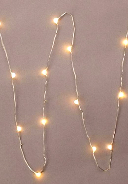"Everlasting Glow LED Micro Light String 18 Warm White 36"" Battery Operated"