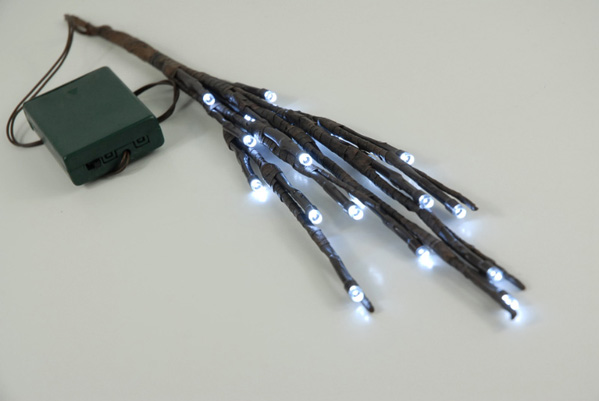 "Darice 17"" Battery Operated 20 Light LED Brown Branches White Lights"