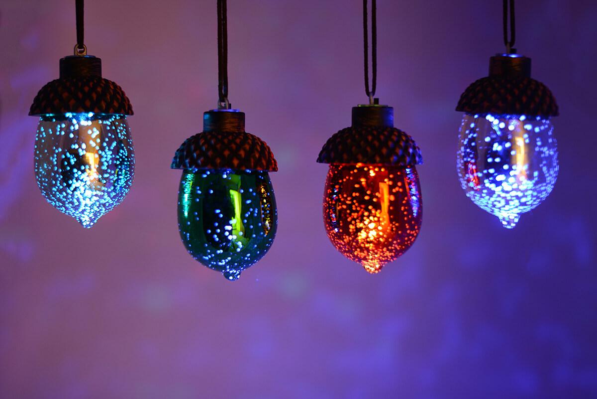 8 Led Mercury Glass Acorn Ornaments
