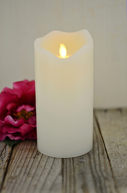 """Wax Wavy Edge Motion Flame LED Candle, 4""""D x 8""""H"""