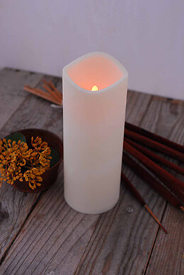 LED Pillar Candle Ivory 3x8 Inch