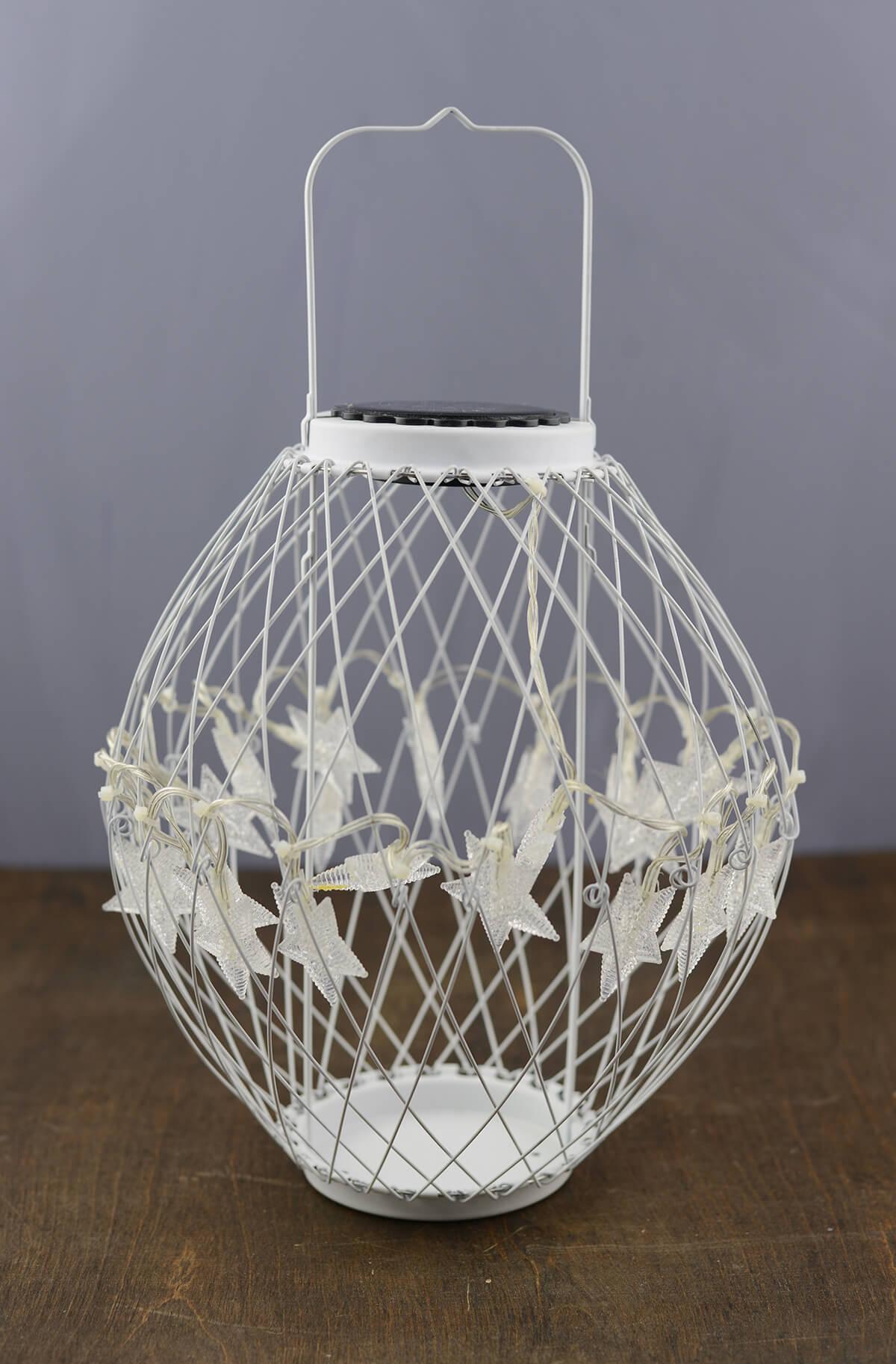 Led Solar Star White Metal Hanging Lantern