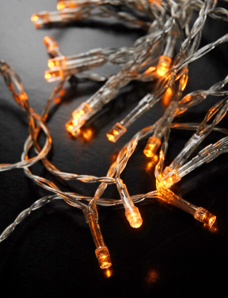30 Led Amber Mini String Lights 10 8 Ft Clear Cord