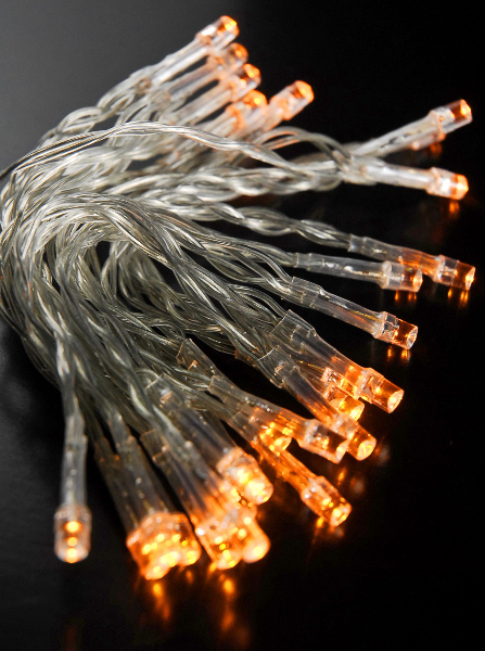 30 led amber mini string lights 10 8 ft clear cord for Led craft lights battery