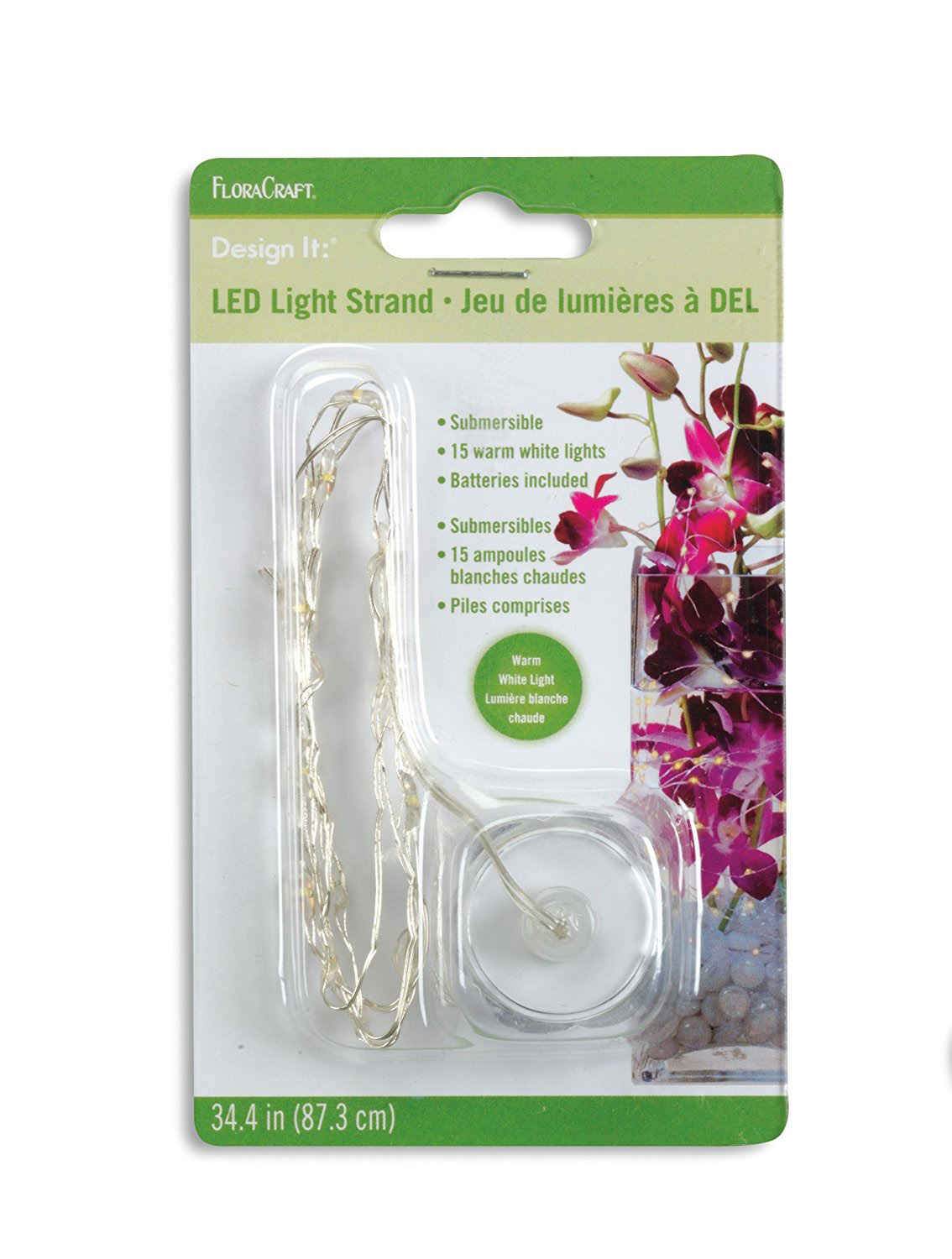Submersible LED Light Strand, 15 Lights, Batteries Included