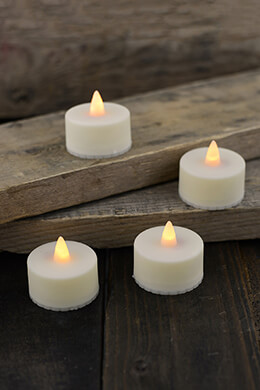 4 Battery Operated Tealight Candles LED
