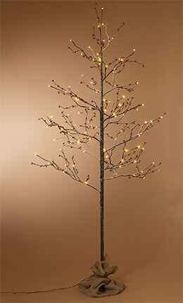 Gerson Everlasting Glow Outdoor Snowy 6'  Birch Lighted Tree with Berries LED