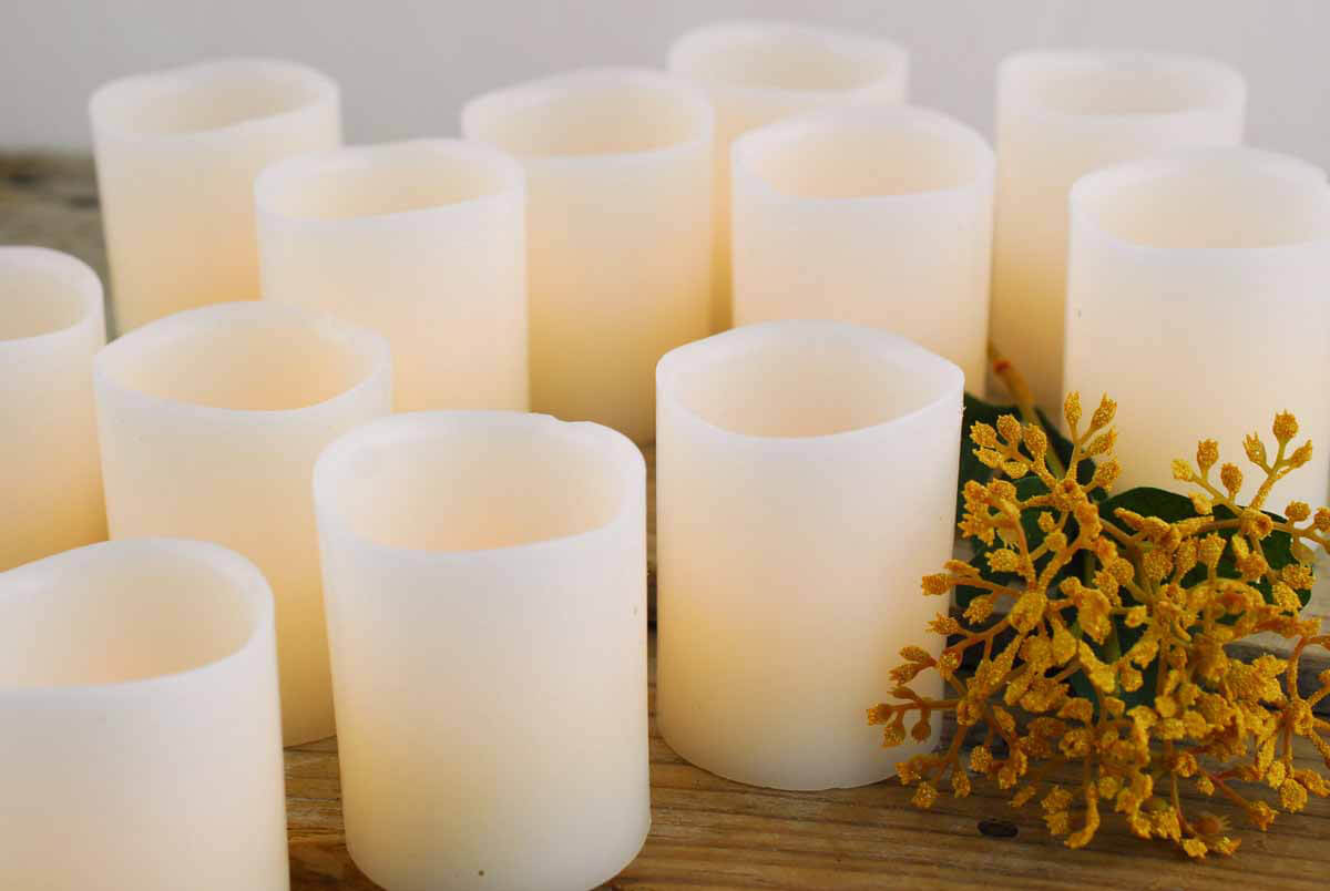 12 Led Wax Candles 2x2 5in Bisque Classic Style Wax Led Votive
