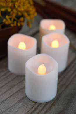 4 Flameless Battery Op. LED Votive Candles, Flickering