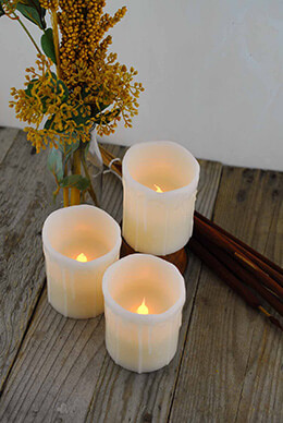 LED Wax Candles Ivory 3x4in (Set of 3)