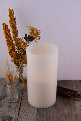 LED 12in Wax Pillar Candle 3 Wicks, Timer,  Bisque  6x12in