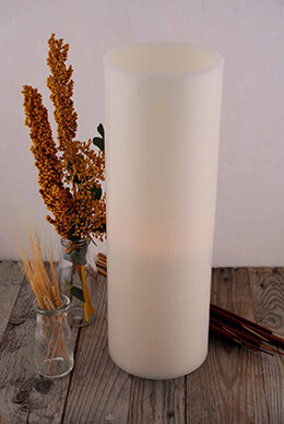 LED Wax Pillar Candle Large Ivory 6x18in
