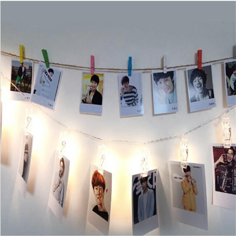 Clear Photo Clip Led String Lights 15 Clips Battery Operated