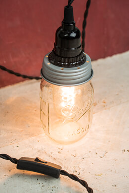 Cleveland Vintage Lighting Mason Jar Adapter Socket Cord Inline Switch